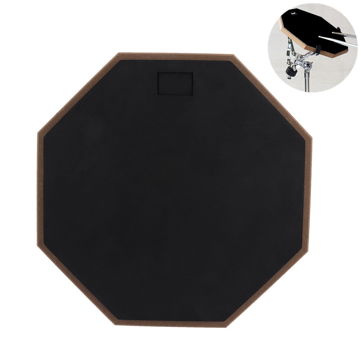 12 Inch Black Rubber Wooden Dumb Drum Practice Training Pad for Jazz Exercise