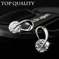 17KM Austria Crystal Wedding pendientes mujer Silver Color Zircon Crystal Stud Earrings Fashion Jewelry for Women brincos