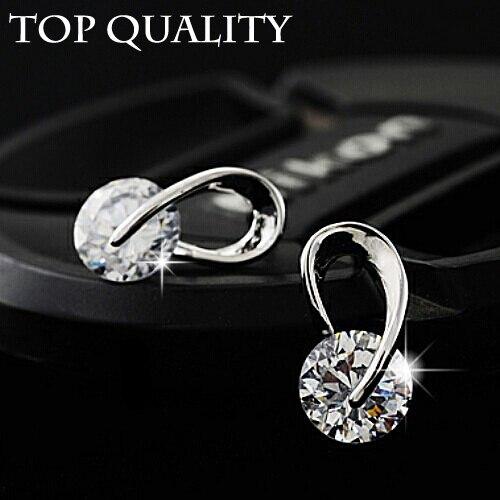 Австрия диаманта CZ элегантный свадьба классический бренд покрытием серебро мода циркон кристалл стад серьги ювелирные изделия для женщин серьги -кольца пуссеты конструктор бижутерия серьги женские