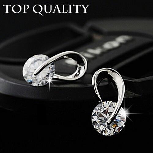 U Shape Silver Color Zircon Crystal Stud Earrings For Women New Brincos Flower Wedding Fashion Jewelry Mujer Best Friend Gift