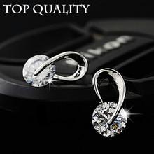 U Shape Silver Color Zircon Crystal Stud Earrings For Women New Brincos Flower Wedding Fashion Jewelry