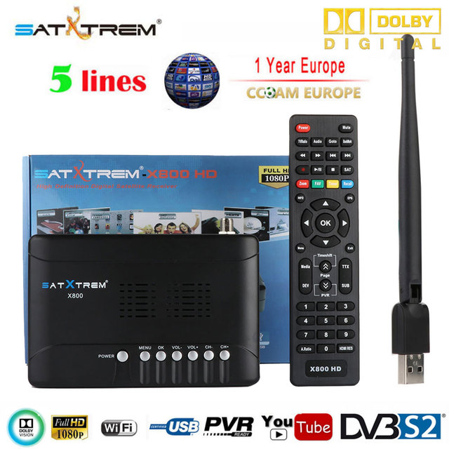 [Genuine]Satxtrem X800-HD Satellite Receiver Full 1080P+1PC USB WiFi DVB-S2 HD Support Cccam Youtube youpron set top box powervu