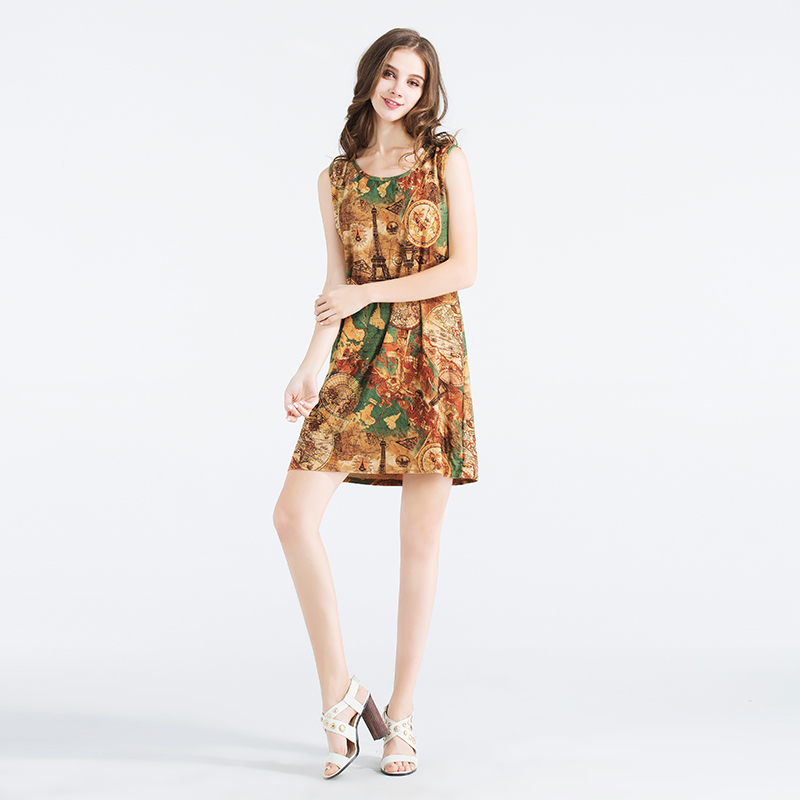 870df820075 2018 European Style Tank Dress Eiffel Tower Print Vintage Sexy Sundress  Classic Casual Round Neck Straight Short Robe Femme -in Dresses from  Women s ...