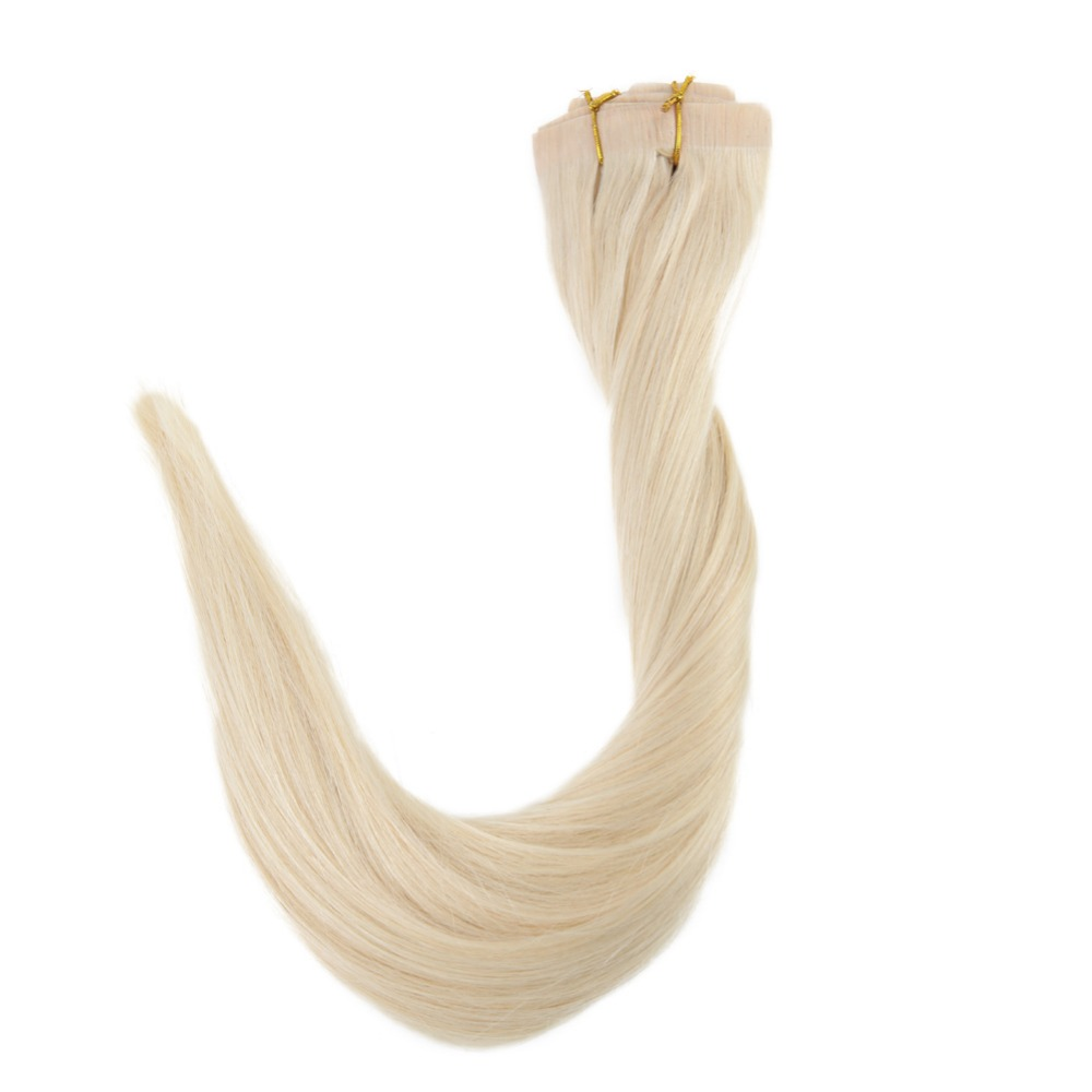 Full Shine Blond Hair Clip In Extension Color #60 Seamless Skin Weft 100% Machine Made Remy Hair Clip In 8Pcs 100g Real Clip On