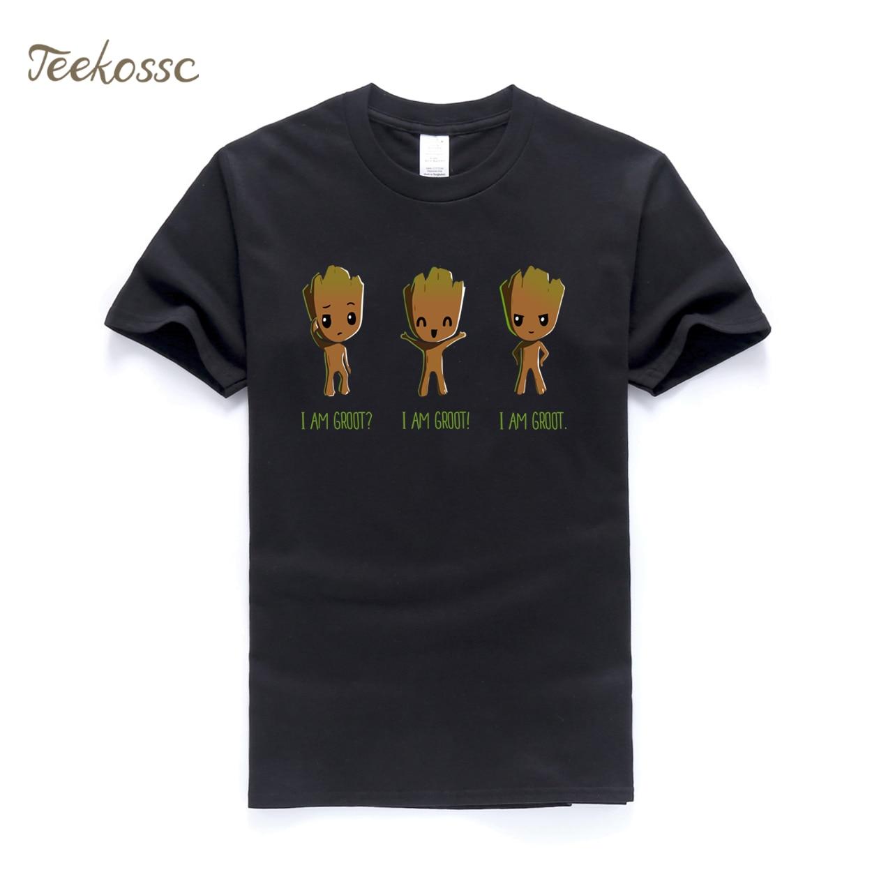 I AM GROOT T Shirt Men Cool Funny T Shirts 2018 Summer Super Hero Tee White Black Print Brand Clothing Slim fit Groot T-Shirt