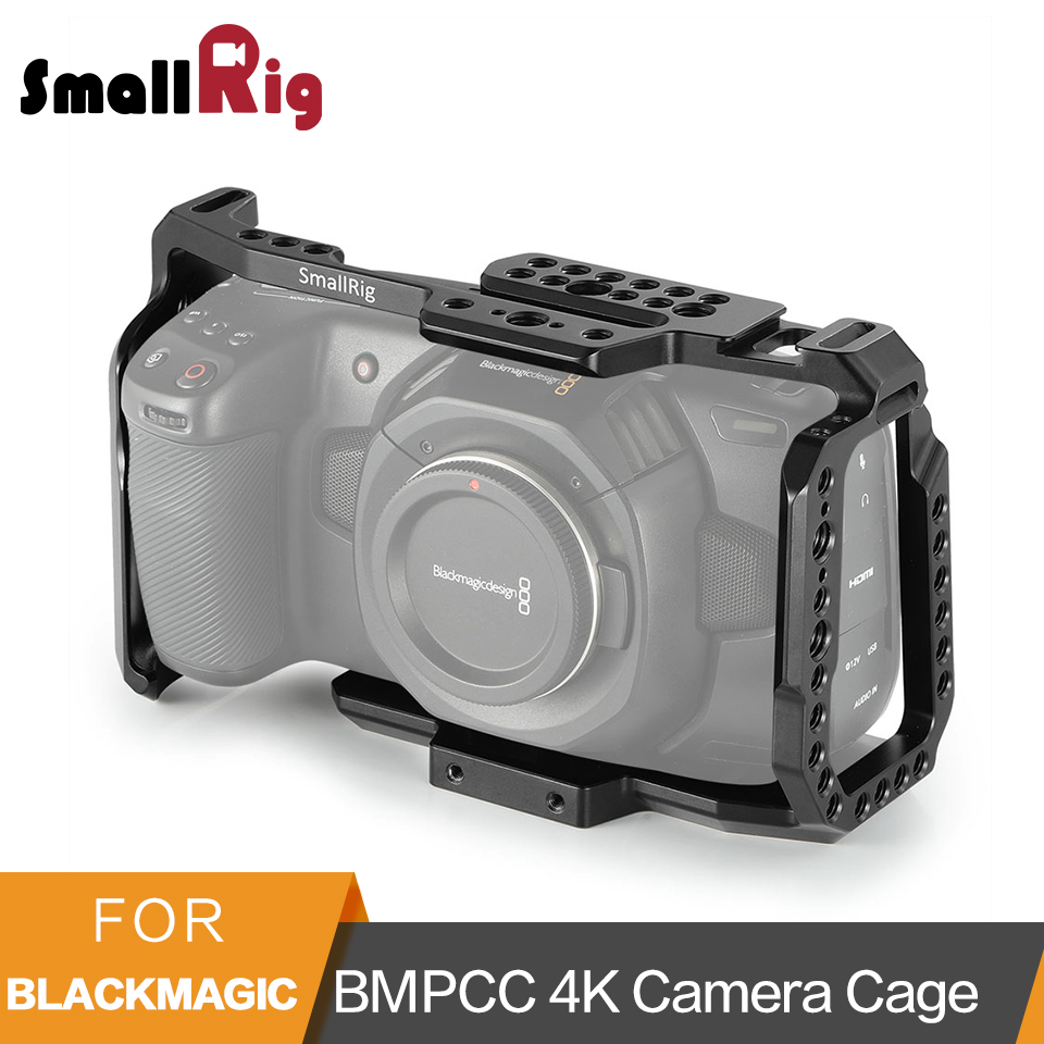 SmallRig BMPCC 4K 6K Camera Cage For Blackmagic Design Pocket Cinema Camera Form Fitting Cage+ Nato Rail Could Shoe Mount- 2203