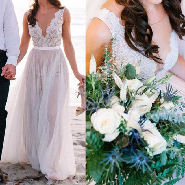 Lace tulle beach wedding dresses backless destination wedding ...
