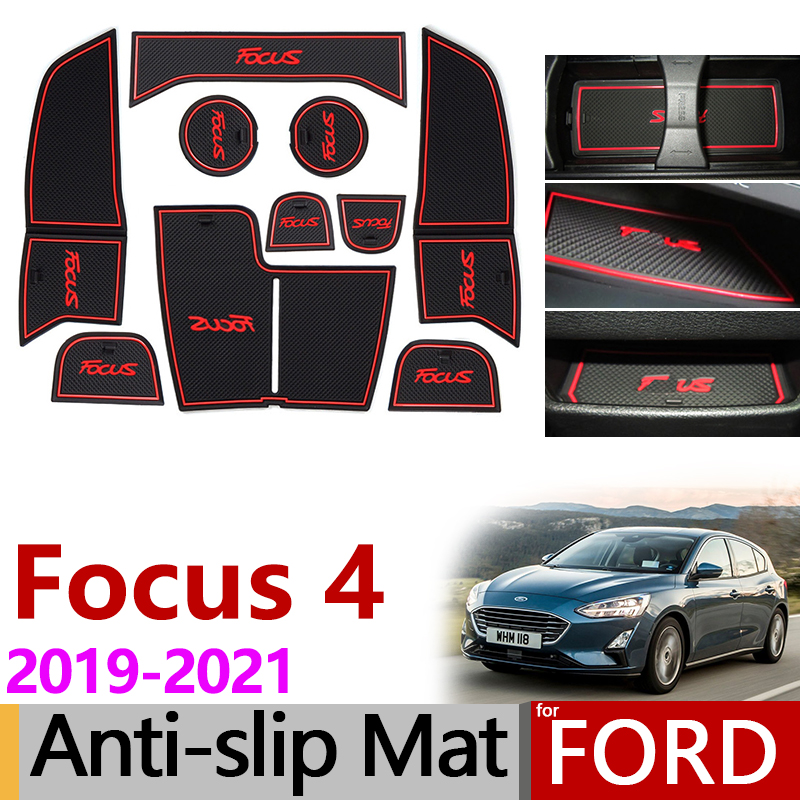 Anti-Slip Gate Slot Mat Rubber Coaster For Ford Focus 4 MK4 Focus 2019 2020 2021 ST RS Accessories Car Stickers 10Pcs Focus IV