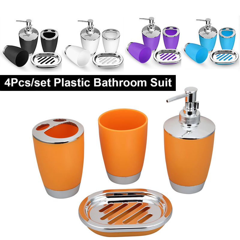 4pcs set bathroom accessories sets toothbrush holder - Bathroom soap and lotion dispenser set ...