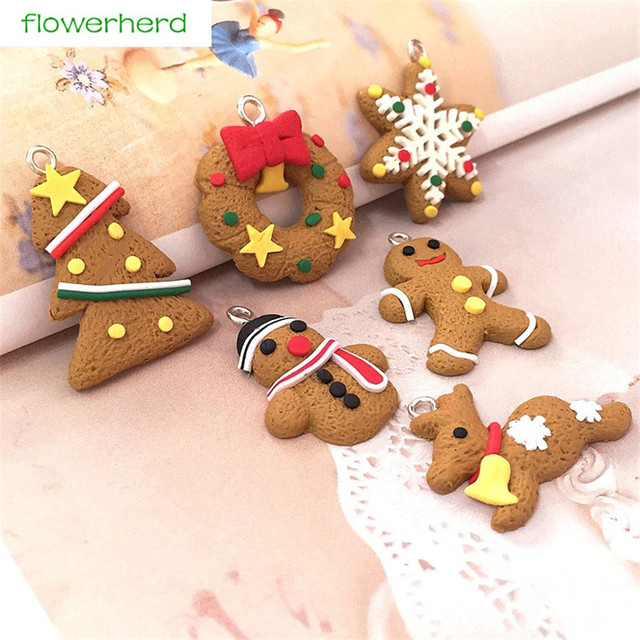 12pcs soft pottery christmas tree snow gingerbread man snowman deer christmas tree decor new year decor - Gingerbread Man Christmas Decorations