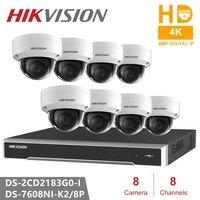Hikvision 4 K система видеонаблюдения 8CH 8POE 4 K NVR + DS 2CD2183G0 I 8MP ip камера сетевая Мини купольная камера безопасности POE