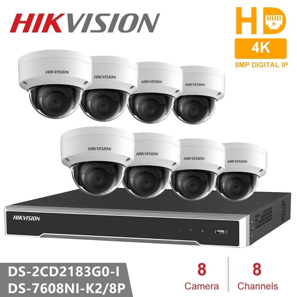 Hikvision 4 K système de caméra de vidéosurveillance 8CH 8POE 4 K NVR + DS-2CD2183G0-I 8MP IP caméra réseau mini dôme caméra de sécurité POE