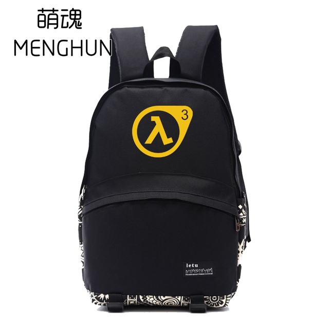 f3056af0282f Black Nylon backpack half life backpacks game fans daily use big backpack  school bag for student NB135