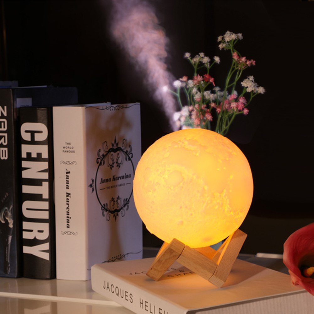 Creative 880ML Air Humidifier+3D Print Moon Lamp Touch Switch Led Night Light Battery Powered Night Light Bedroom Decor Gift