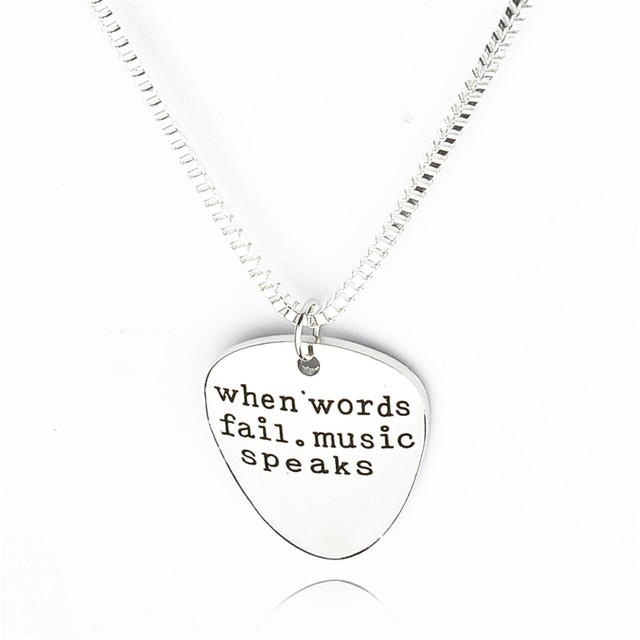 When words fail music speaks hand stamped guitar pick pendant when words fail music speaks hand stamped guitar pick pendant necklace gift for him rock aloadofball Image collections