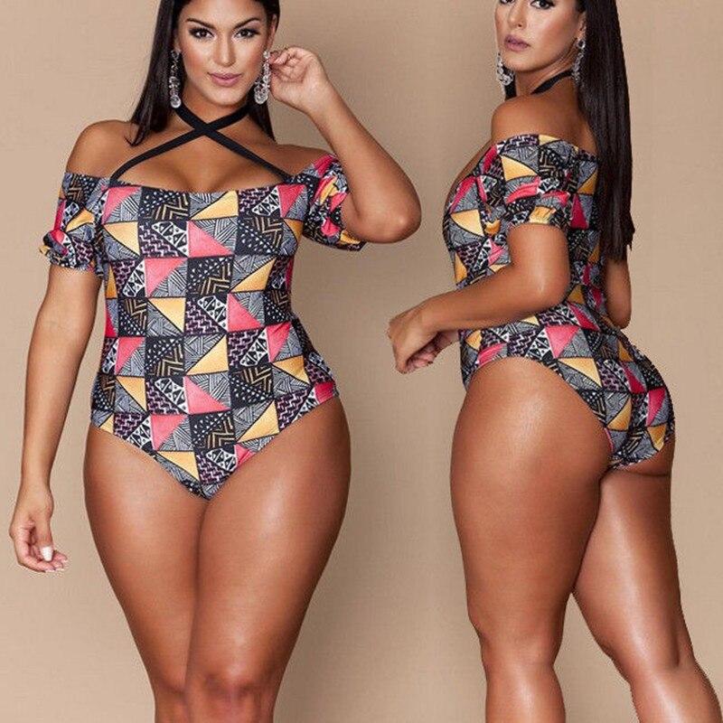 ברזילאי בגדי ים בתוספת גודל בגד ים 2018 קיץ חתיכה אחת Monokini בגד ים פרחוני רטרו בציר הדפסת לשחות ללבוש