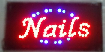 2017 direct selling custom led sign 10x19 Inch Semi-outdoor Ultra Bright running nail store signboard