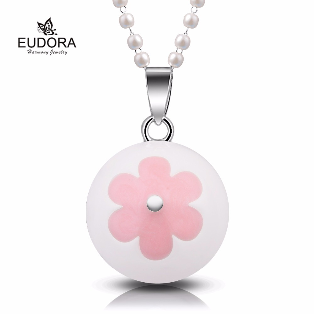 Eudora Harmony Bola Chime Ball Enamel Pink Flower Copper Pregnant Necklace Jewelry Angel Caller Pendants Mum To Be Gift