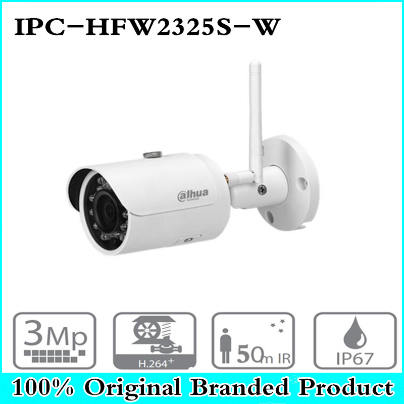цена на DH IPC-HFW2325S-W 3MP IR50M IP67 built-in WIFI SD Card slot Network outdoor WIFI Camera replace IPC-HFW1320S-W IP Camera