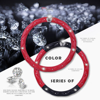 High end car steering wheel decorative accessories girl 9 colors fashion exquisite diamond steering wheel cover leather
