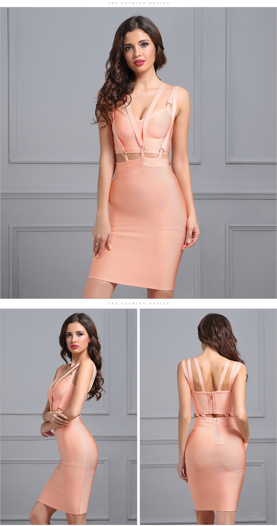 V Neck Sleeveless Hollow Out Mini Bandage Dress