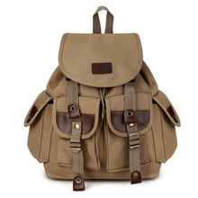 Fashion Vintage Men s and Women Backpack Canvas PU Couples Travel Military Bag Pack Satchel Travel
