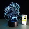 Dragon ball z super saiyan 3 goku figuras de acción 3d mesa lámpara 2016 Nueva 7 color cambiante figuras dragon ball z banpresto cifras