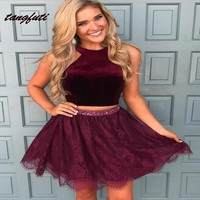 A Line Halter Short Lace Homecoming Dresses 2019 Mini Sweet 16 Prom Gowns Two Pieces Cocktail Party 8th Grade Semi Formal Dress