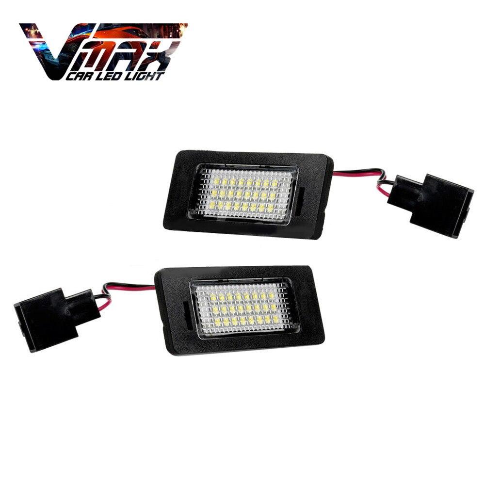 VMAX 2pcs <font><b>LED</b></font> White 24SMD License Plate Light Number Bulbs Error Free Auto Lamps for Cars Audi <font><b>A4</b></font> <font><b>B8</b></font> A5 S5 TT Q5 Passat R36