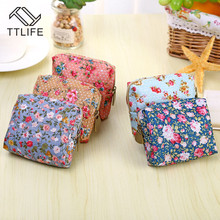 TTLIFE Women Coin Purse Cute Flower Printing Ladies Small Wallet Pocket Headset Line Pouch Card Holder Lipstick Bag Girl Gift