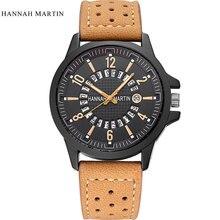 새로운 패션 남자 시계 탑 럭셔리 브랜드 남자 스포츠 군사 가죽 아날로그 쿼츠 시계 Ceasuri Reloj Hombre