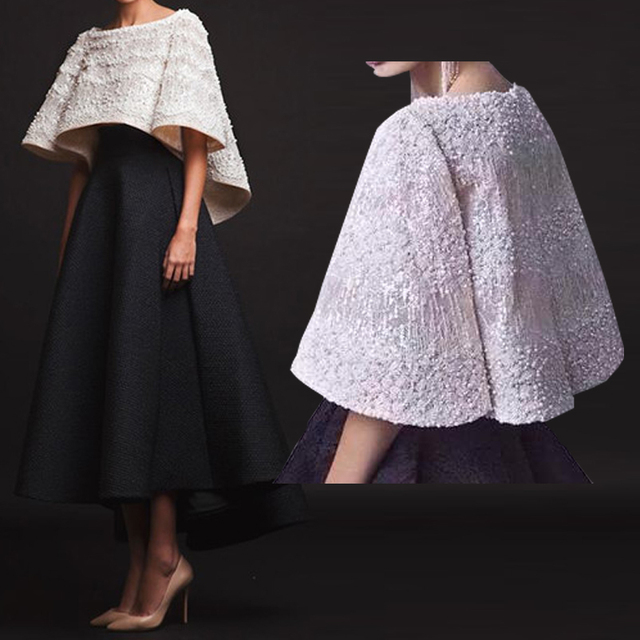 2019 Mother Of The Bride Dresses With Cape Wraps Luxurious Pearls Beading Black Asymmetric Wedding Evening Party Guest Wear