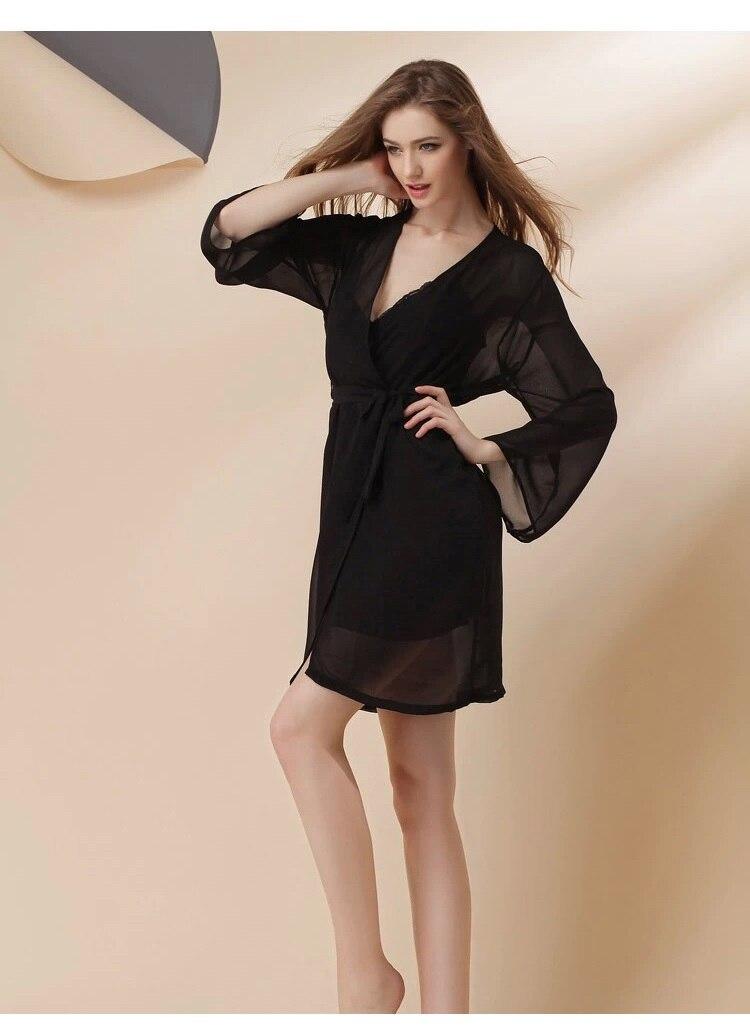 black silklike sexy lingerie robes set 4