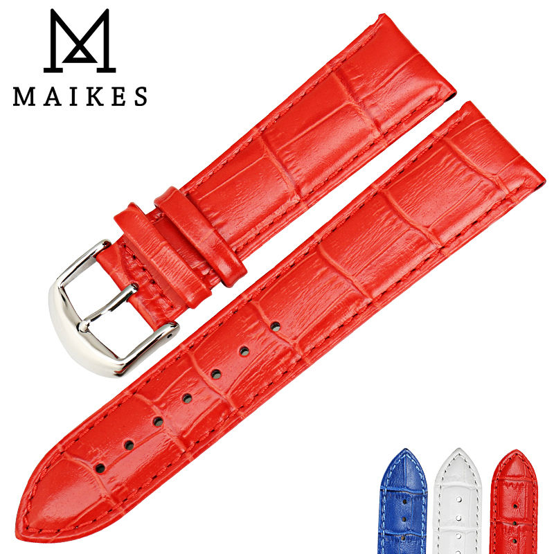 MAIKES Fashion watchband watch accessories 12mm-22mm genuine Leather watch band red women first layer of leather watch strap d 32 fashion purple red fish skin leather watch strap 24 22mm watchband with buckle