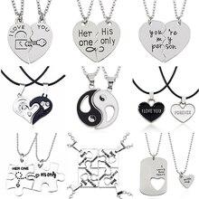 2 шт ожерелье лучшие друзья ювелирные изделия Инь Ян кулон для Тай Чи пары парные ожерелье s& Кулоны унисекс влюбленных подарок на день Святого Валентина
