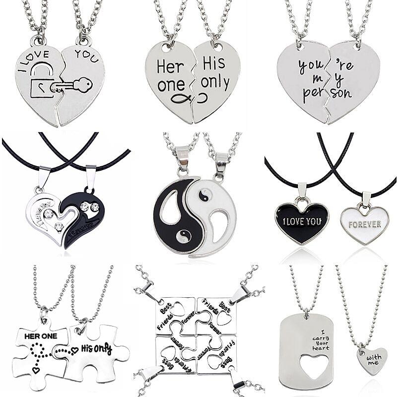LX/_ EG/_ Unisex Friendship Necklace Split Heart Shape Pendant Jewelry Best Frie