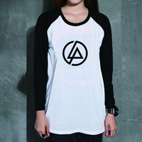 Loose Style Heavy Metal Music Linkin Park Uzzlang Women PVC Letter Print T Shirt Female Raglan