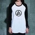 Loose Estilo Heavy Metal Music Linkin Park Uzzlang Mujeres PVC Impresión de la Letra de La Camiseta larga Para Mujer Camiseta de Manga Larga Camisetas
