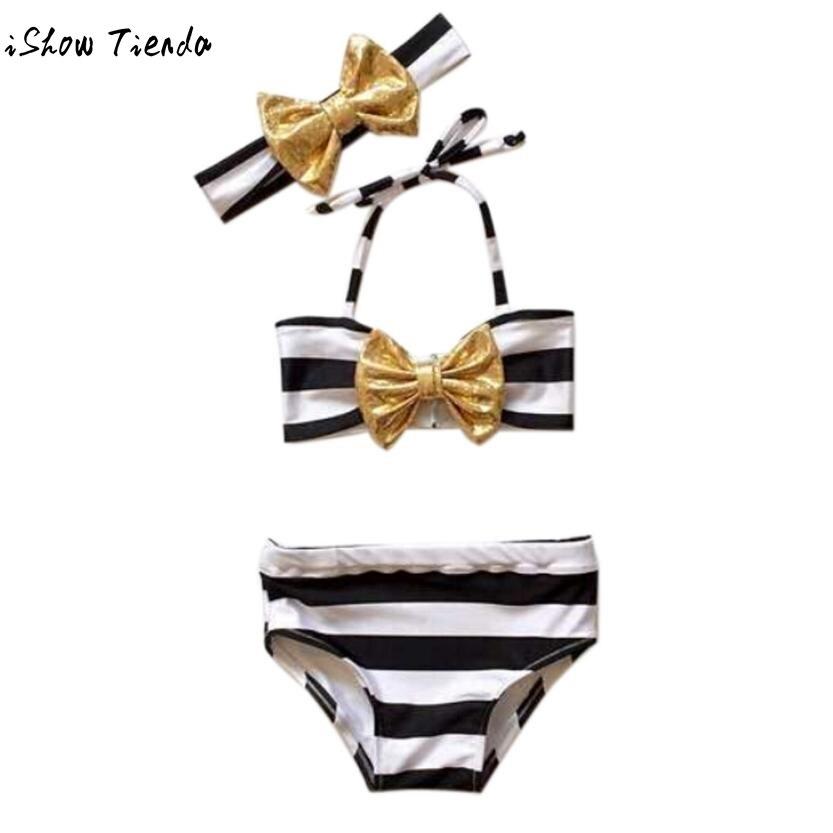 new striped swimwear for children cheap swimwear Beach Wear Toddler Kids Baby Tankini Bikini Junior Girls Swimsuit Plavky Damy
