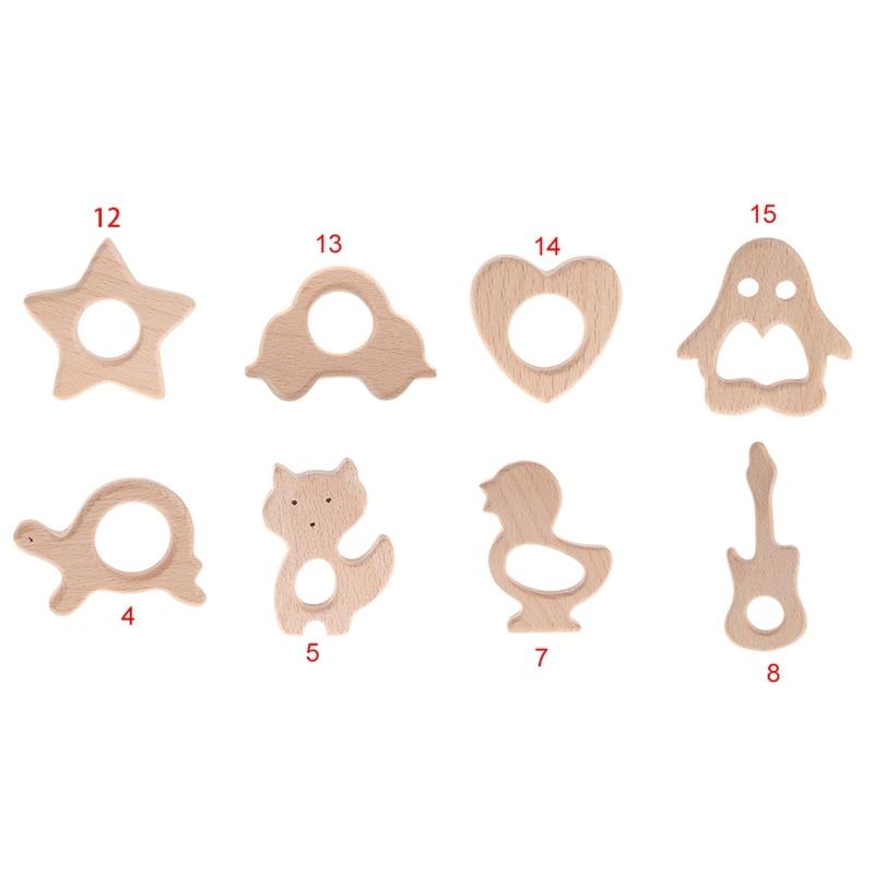 Natural Wooden Teething Rings Natural Wooden Animal Shape Baby Teether DIY Wood Ring Teether Sensory Toys-M25