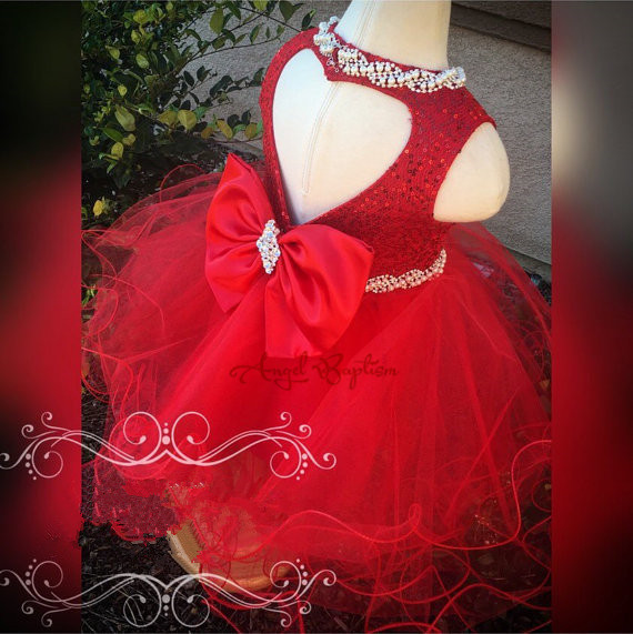2016 Bling Crystals Beaded Red sequined flower girl dresses with Bow glamorous tiered wedding birthday pageant party ball gowns glamorous клатч glamorous ba0148 black red suede