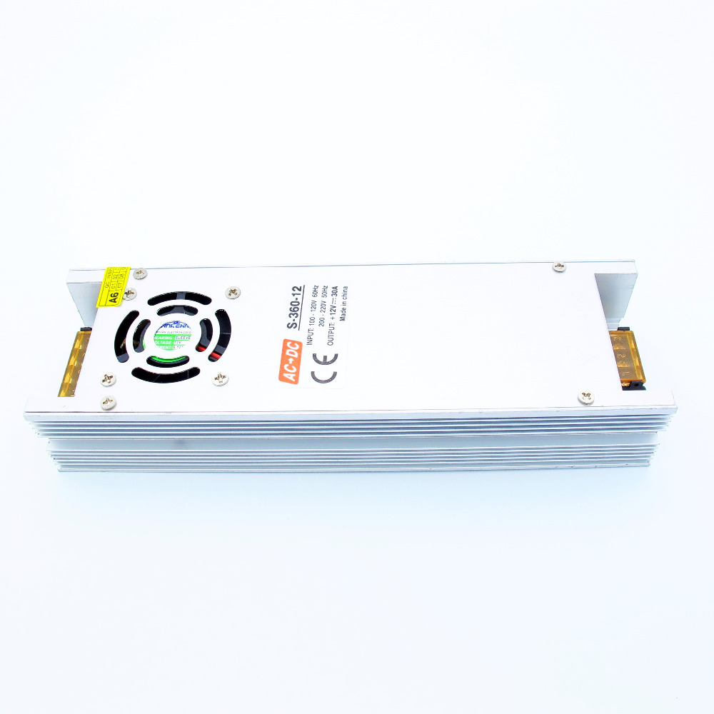 High quality Safety 12V 30A 360W LED Driver AC 110V 220V for LED strip 3528 5050 Switching Power Supply with Fan