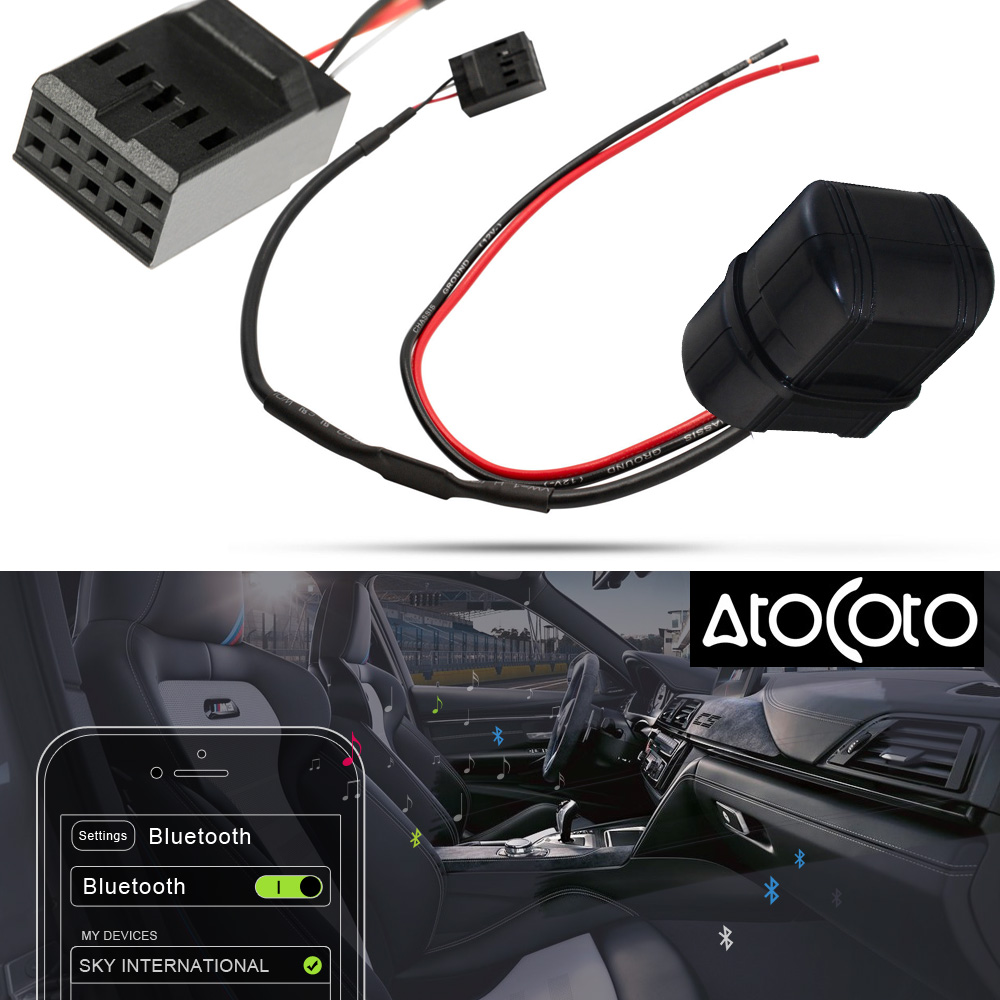 AtoCoto Car Bluetooth Module AUX IN Adapter 10 Pin Cable for BMW E46 3 Series Business CD Radio Wireless Audio Input reflection