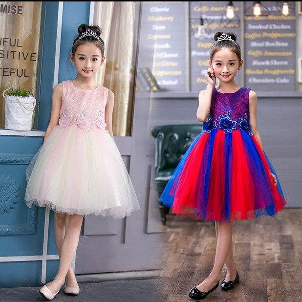 2017 Summer Flower Girl Rainbow Dresses White Stain Dress for Children Toddler Kids Piano Latin Dance Costume Wedding Tutu Dress blue sky чаша северный олень