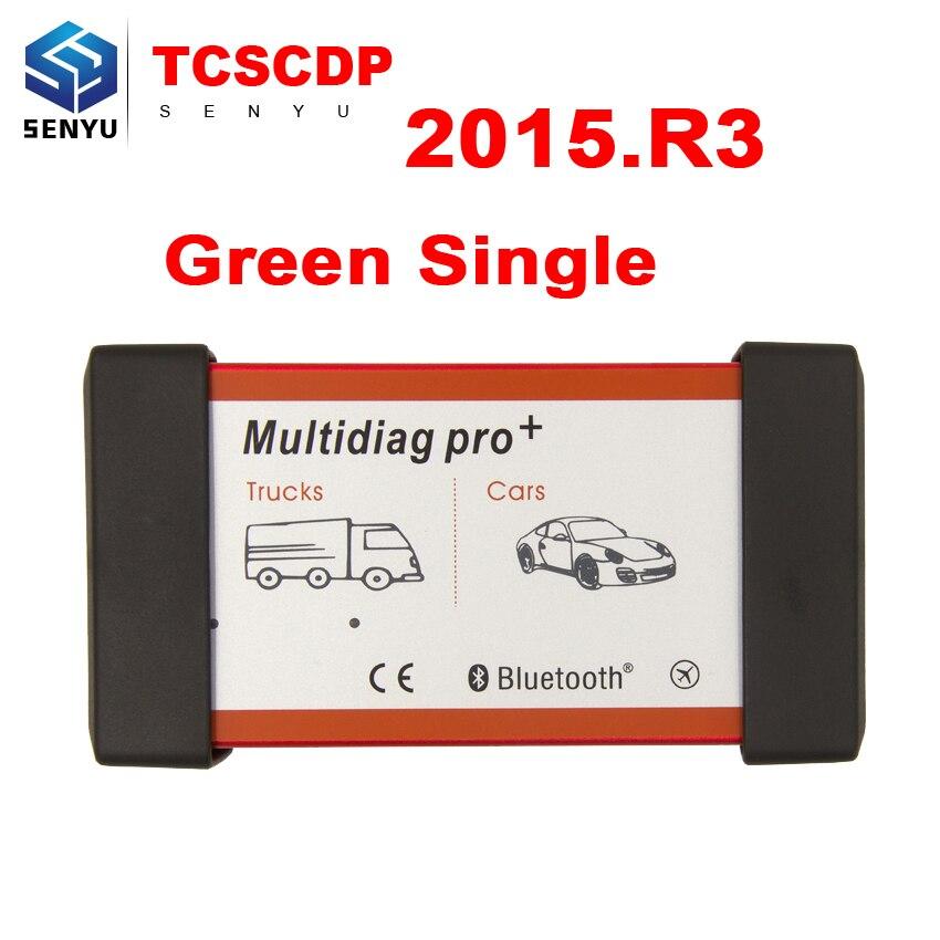 imágenes para Multidiag Pro + 2015. R3/2014. R2 Verde Único PCB OBD2 OBD OBDII Herramienta de Diagnóstico de TCS CDP escáner para Coches/Camiones coche-detector
