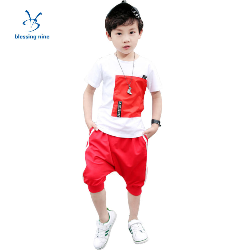 4-14T Teenager Boys Clothes Sets Summer Children Clothing Short-sleeved Kids Tracksuit for Boys Hip-hop O-Neck T-shirt+Shorts