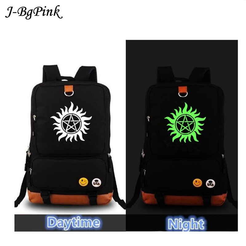 High Quality 2018 New Supernatural Luminous Canvas printing backpack Fashion Rucksack Men's backpacks School Bags for Teenagers high quality anime death note luminous printing backpack mochila canvas school women bags fashion backpacks for teenage girls