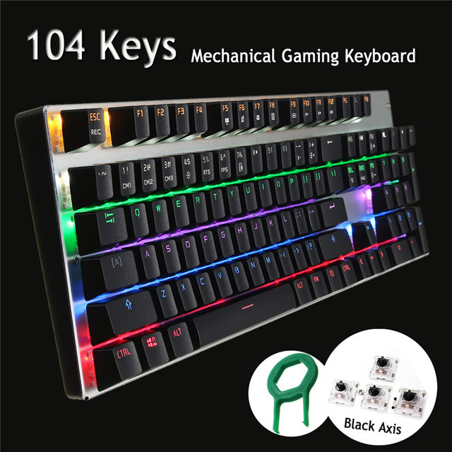 104 Keys Full Size RGB Gaming Wired Mechanical Keyboard Backlit LED Keycap Black Switch Ergonomic Computer Game Keyboard For LOL