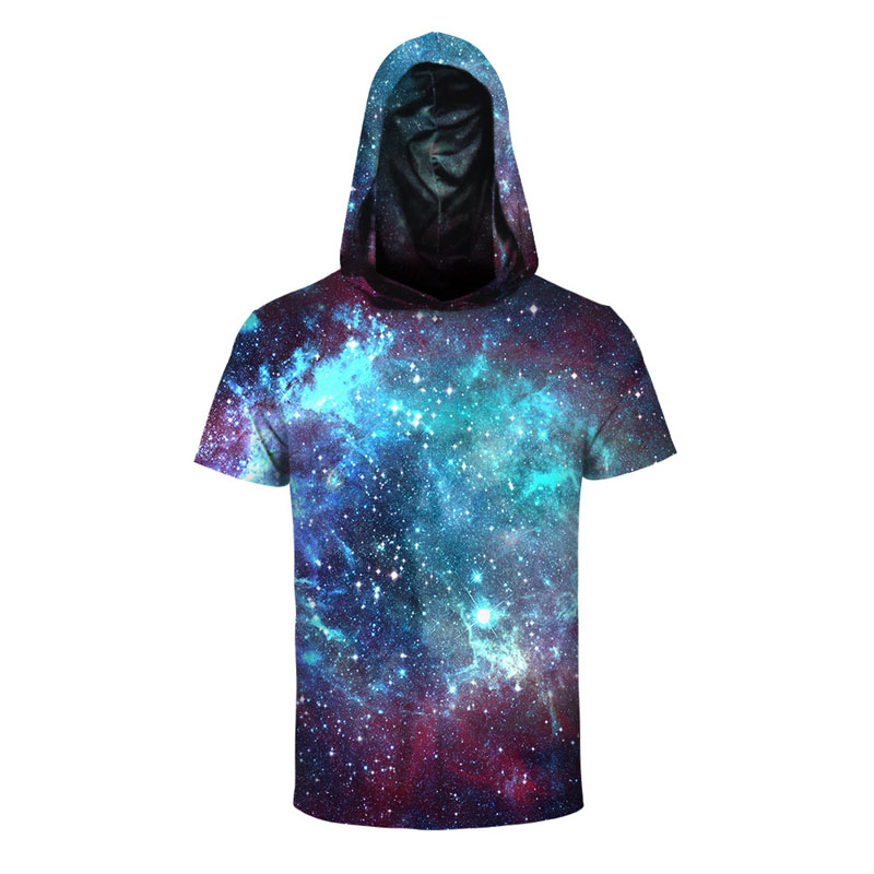 Summer New Universe Galaxy Print Men's Micro-Elastic Short Sleeve Hoodies 3D Print Male Short Sleeve Hat Hooded Sweatshirts