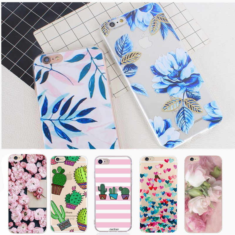 Flower Phone Case sFor iphone 7 XS Case Soft TPU Back Cover For iphone 6 6S 7 8 Plus iphone X 10 5 5S SE Case Cover Phone Cases
